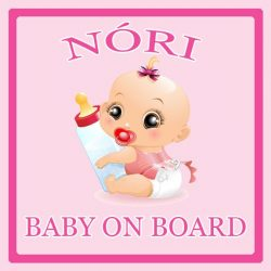 Névre szóló Baby on Board autómatrica - Baby on Board (lány)