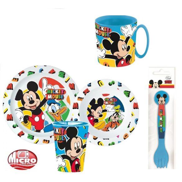 Mickey egér mikrózható gyerek étkészlet + evőeszköz szett