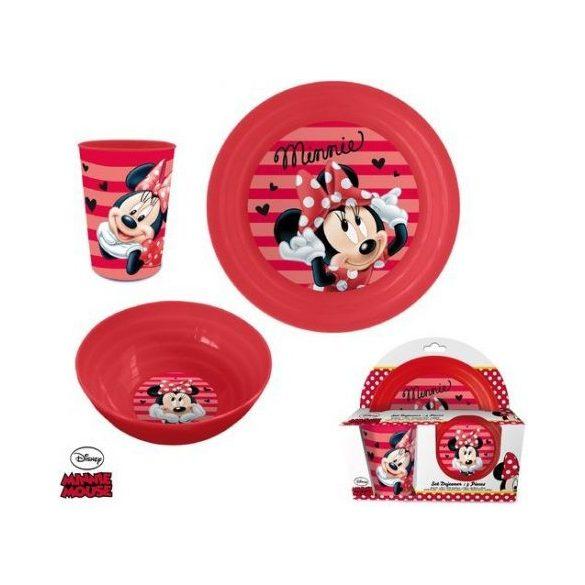 Minnie egér műanyag étkészlet díszdobozban