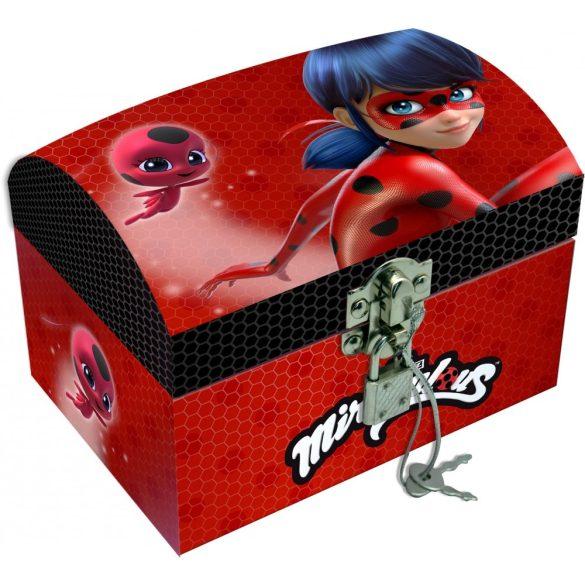 Miraculous Ladybug ékszertartó doboz, kincses láda lakattal