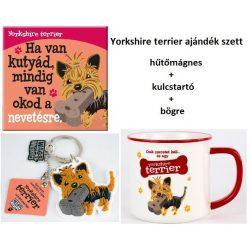 Yorkshire terrier kutyás ajándék szett - hűtőmágnes+kulcstartó+bögre