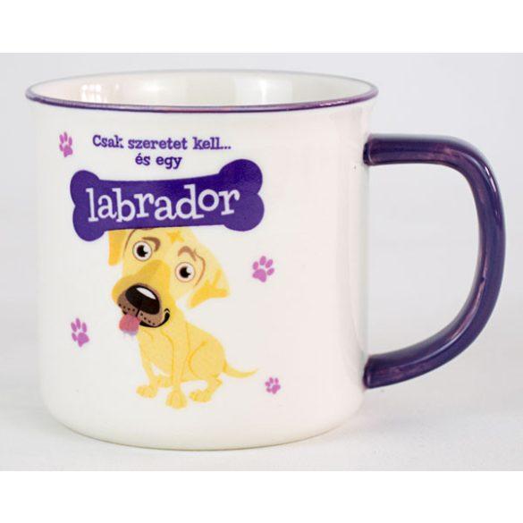 Labrador kutyás ajándék szett - hűtőmágnes+kulcstartó+bögre