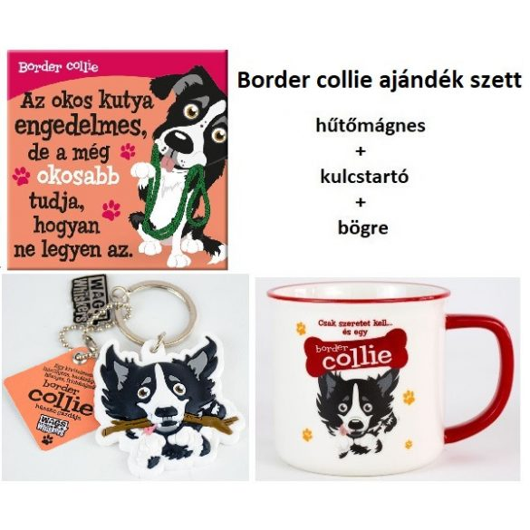 Border collie kutyás ajándék szett - hűtőmágnes+kulcstartó+bögre