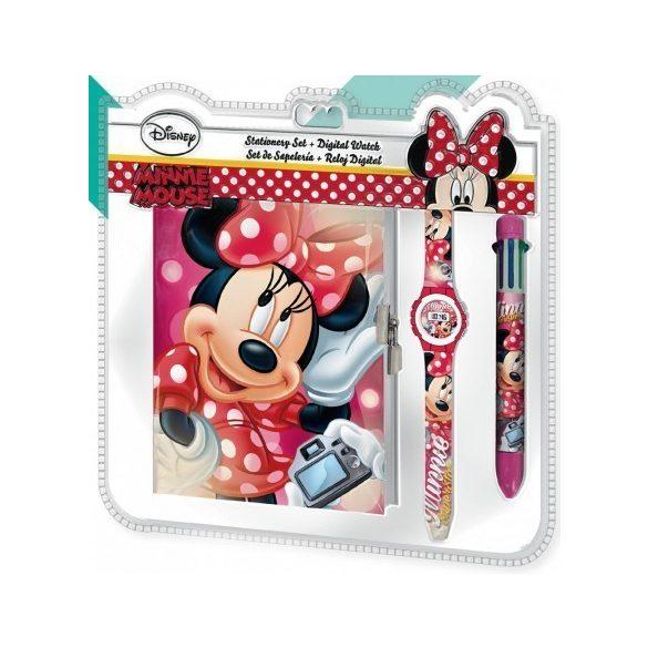 Minnie egér napló, 6 színű toll és karóra szett