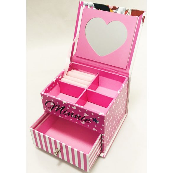 Minnie egér fiókos ékszertartó doboz