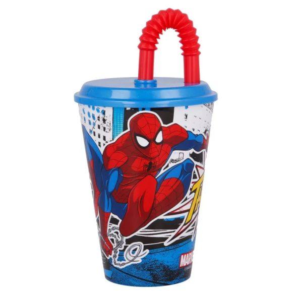 Pókember szívószálas pohár
