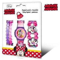 Minnie egér digitális gyerek karóra + karkötő szett